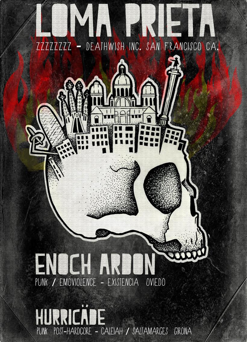 LOMA PRIETA · ENOCH ARDON · HURRICÄDE  -Gig poster  -1