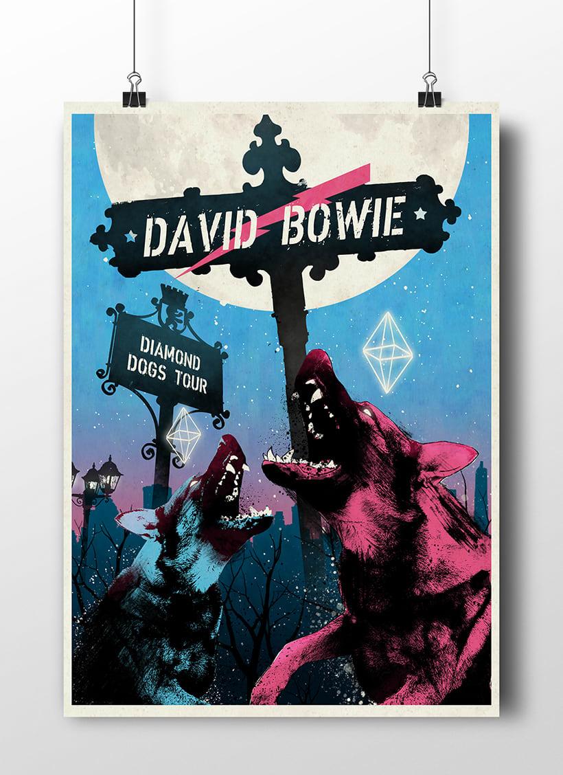 Diamond Dogs: Cartel homenaje David Bowie 1