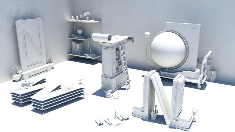 Newton, modelado, iluminación y textura (obra original de José Checa) 9