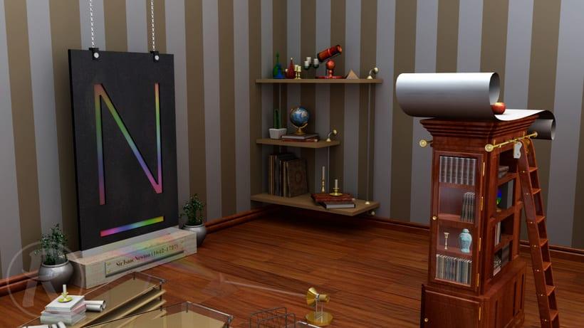 Newton, modelado, iluminación y textura (obra original de José Checa) 13