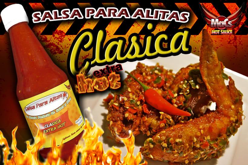 """Diseño de etiqueta de producto, y cartel publicitario. SALSA PARA ALITAS """"Macs Hot Sauce"""" Familia de sabor: CLÁSICA -1"""