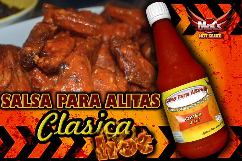 """Diseño de etiqueta de producto, y cartel publicitario. SALSA PARA ALITAS """"Macs Hot Sauce"""" Familia de sabor: CLÁSICA 0"""