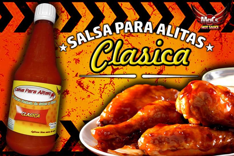 """Diseño de etiqueta de producto, y cartel publicitario. SALSA PARA ALITAS """"Macs Hot Sauce"""" Familia de sabor: CLÁSICA 1"""