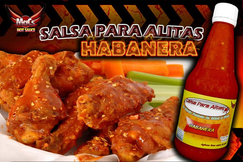 """Diseño de etiqueta de producto, y cartel publicitario. SALSA PARA ALITAS """"Macs Hot Sauce"""" Familia de sabor: CLÁSICA 3"""