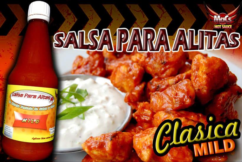 """Diseño de etiqueta de producto, y cartel publicitario. SALSA PARA ALITAS """"Macs Hot Sauce"""" Familia de sabor: CLÁSICA 4"""