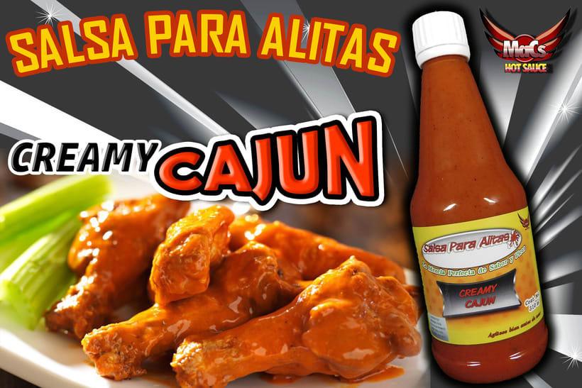 """Diseño de etiqueta de producto, y cartel publicitario. SALSA PARA ALITAS """"Macs Hot Sauce"""" Familia de sabor: ESPECIALES 1"""
