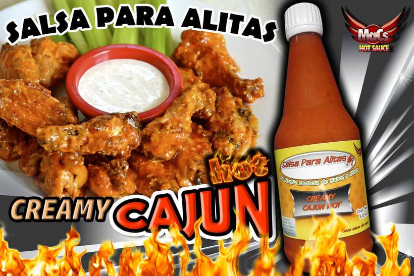 """Diseño de etiqueta de producto, y cartel publicitario. SALSA PARA ALITAS """"Macs Hot Sauce"""" Familia de sabor: ESPECIALES 2"""