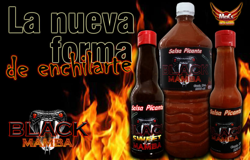 """Diseño de imagen de etiqueta y logotipo para lanzamiento de producto nuevo """"BLACK MAMBA"""" de SALSA PARA ALITAS """"MACS HOT SAUCE"""" 1"""