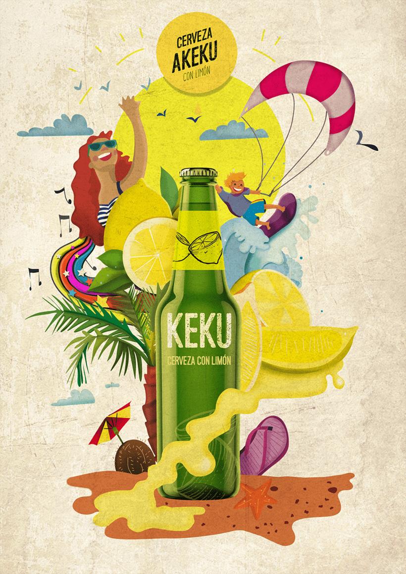 Botella de cerveza con limón. Motivo playero -1