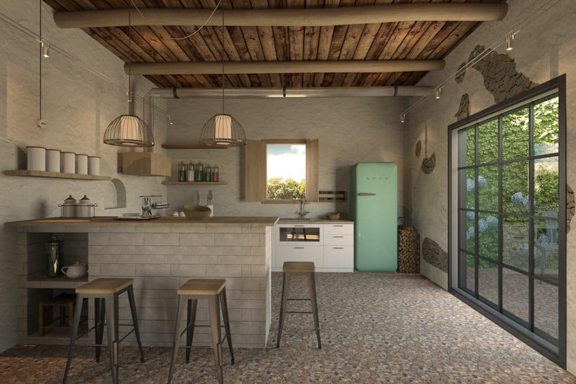 Cocina casa campo domestika - Cocinas de campo ...