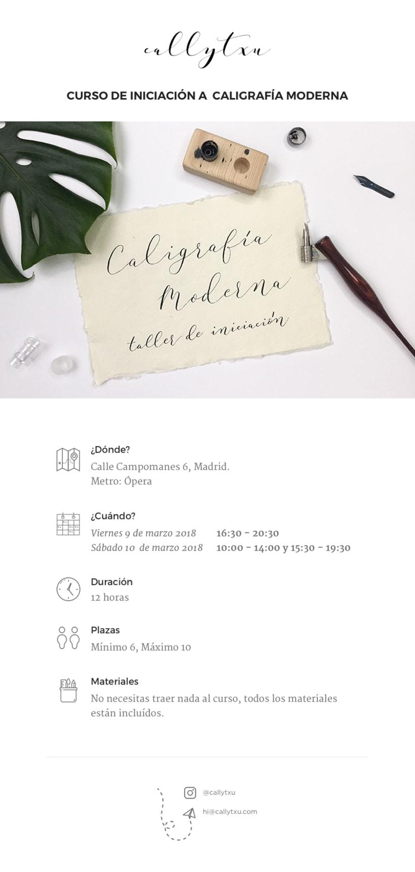Curso de Iniciación a Caligrafía Moderna en Madrid 1