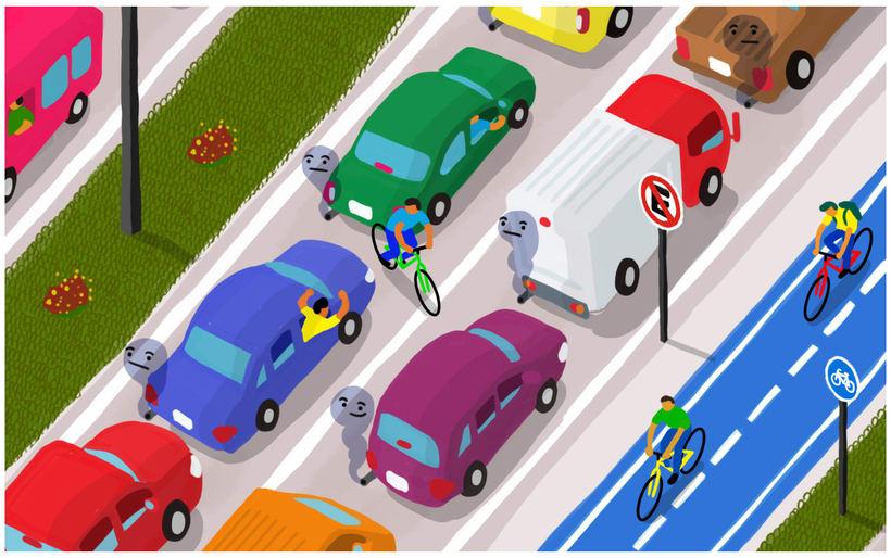 Bicicletas, autos y personas 1