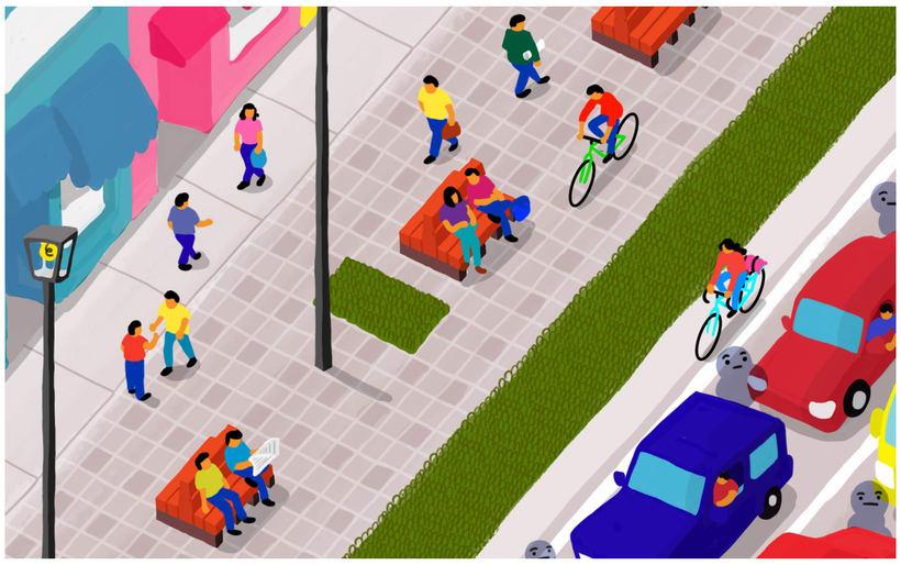 Bicicletas, autos y personas 2