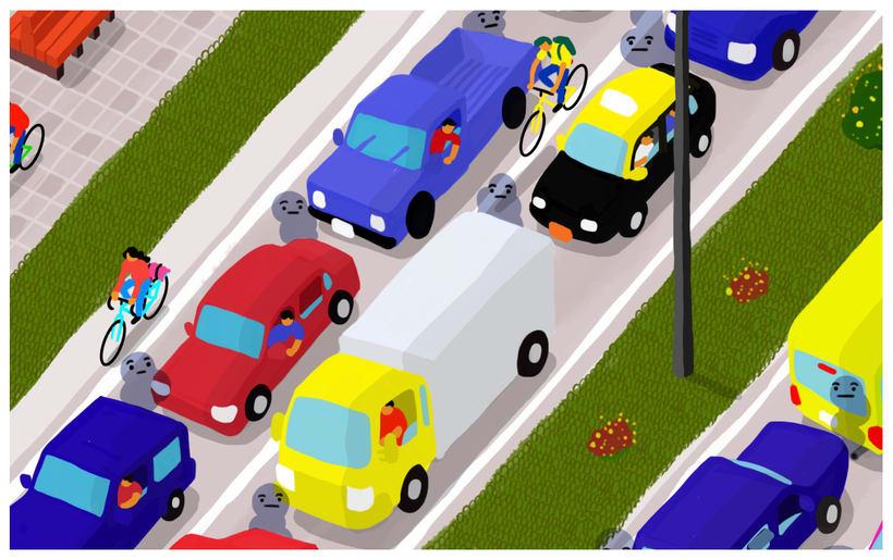 Bicicletas, autos y personas 3