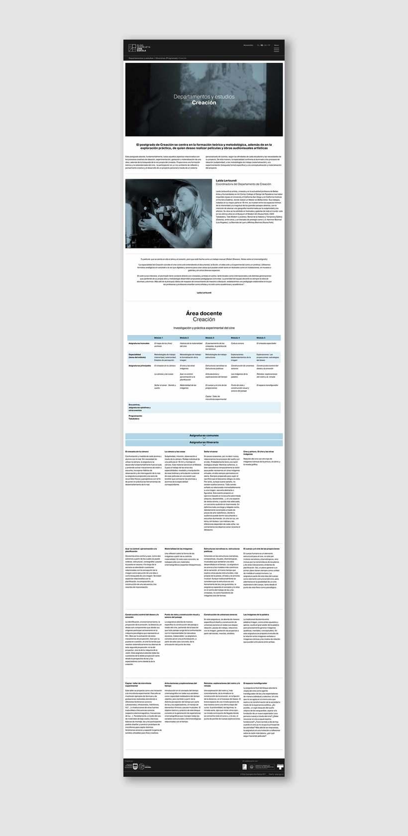 Elías Querejeta Zine Eskola, sitio web 3
