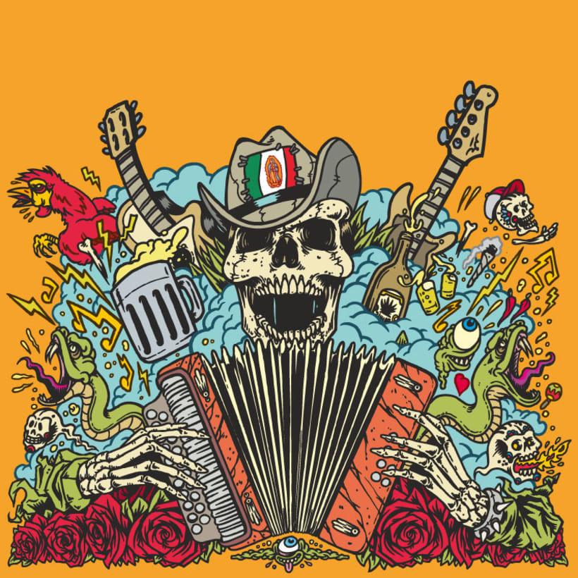 """Piñata Protest - Ilustración para la portada de su álbum """"Necio Nights"""" 2"""