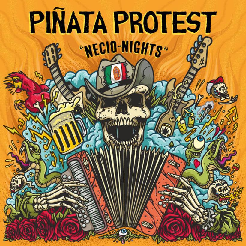"""Piñata Protest - Ilustración para la portada de su álbum """"Necio Nights"""" 1"""
