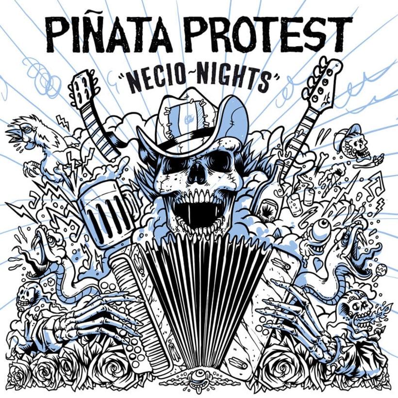 """Piñata Protest - Ilustración para la portada de su álbum """"Necio Nights"""" 3"""