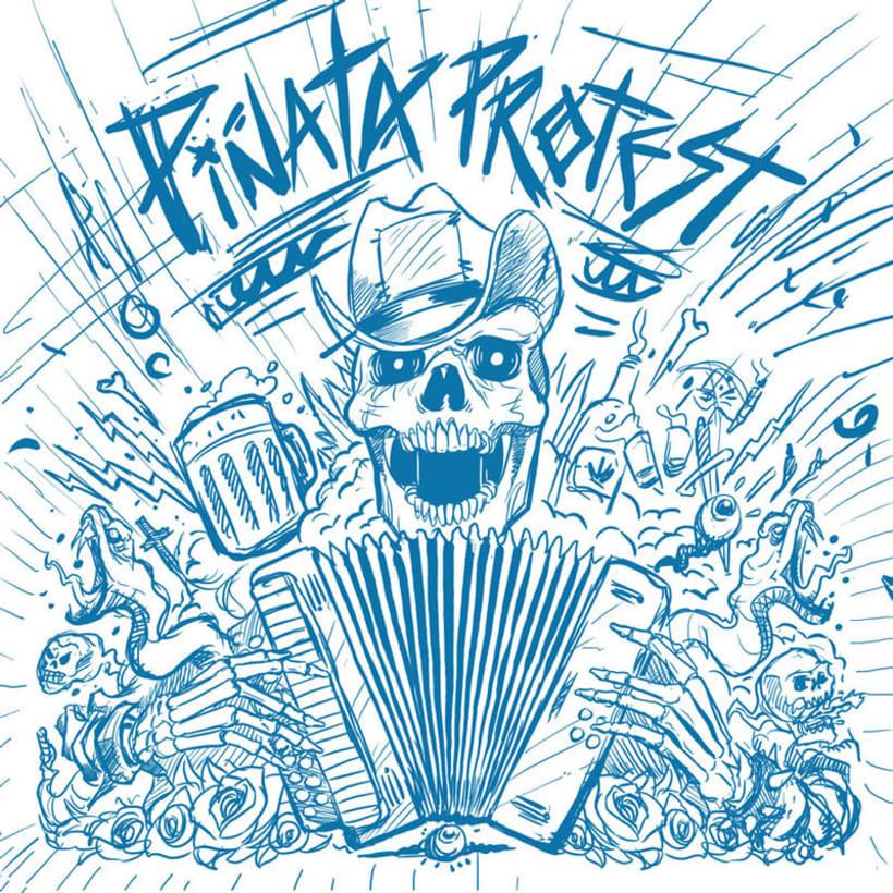 """Piñata Protest - Ilustración para la portada de su álbum """"Necio Nights"""" 4"""