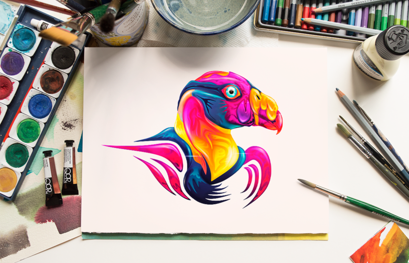 Animalística Misionera: Zopilote Rey - Speed Painting 1