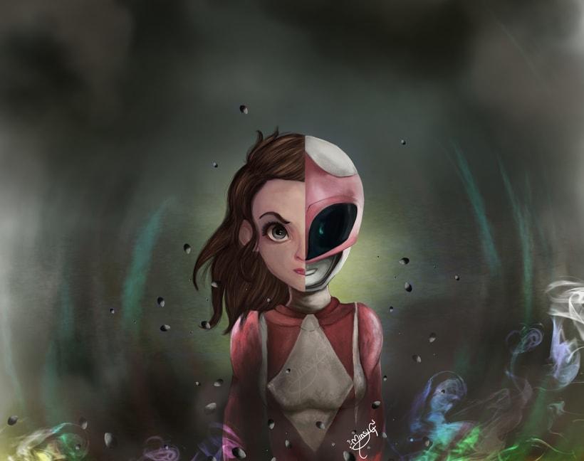 Pintura digital pink ranger 0