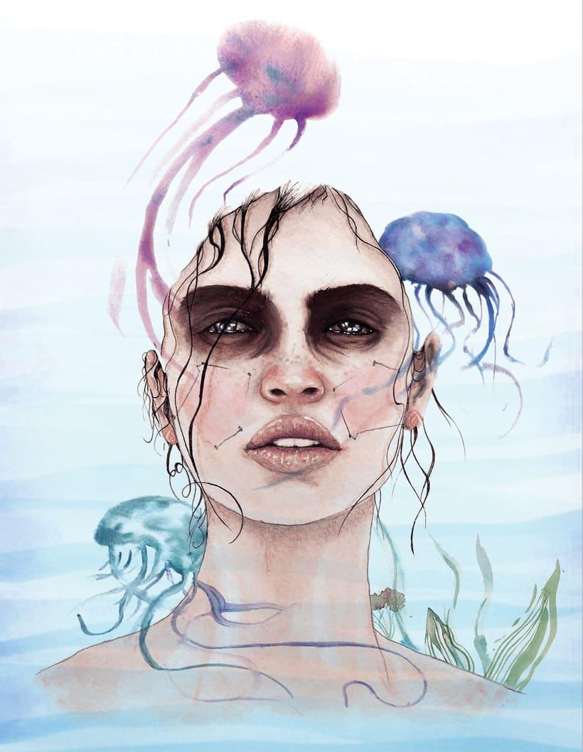 """Mi Proyecto del curso: Retrato ilustrado en acuarela - """"Deep"""" -1"""