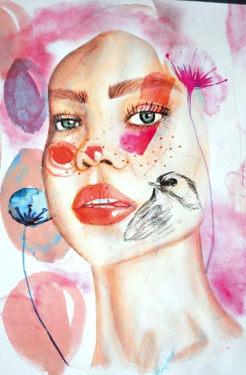 MiProyecto del curso: Retrato ilustrado en acuarela.  PINK BALLON -1
