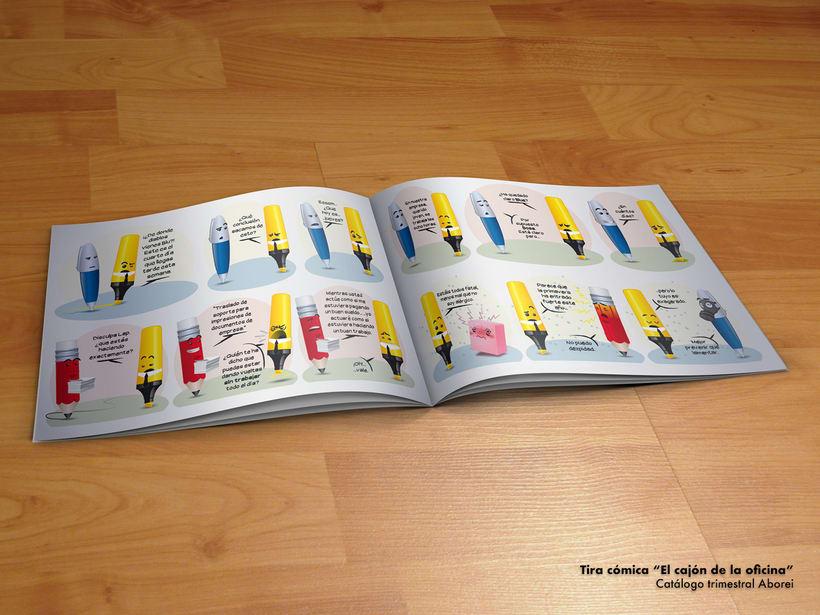 """Tira cómica """"El cajón de la oficina"""". Publicado en una revista trimestral de papelería. -1"""