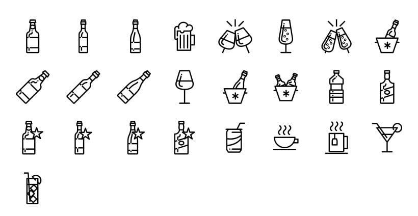 Bebidas - Set de Iconos Lipo -1