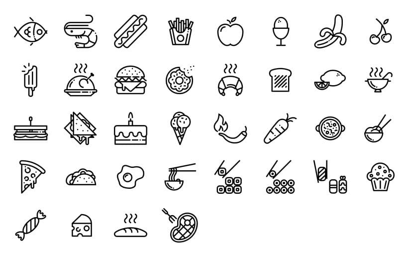 Alimentación - Set de iconos Lipo 0
