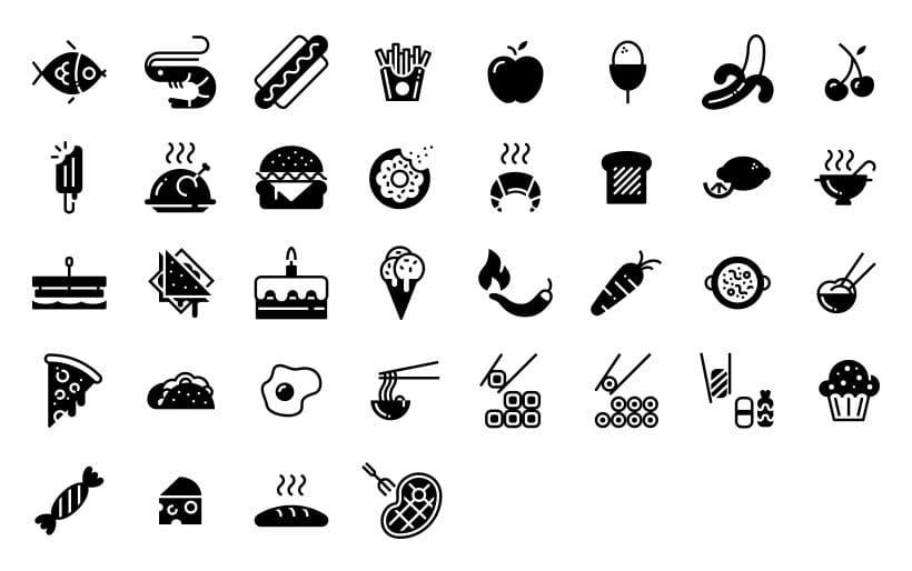 Alimentación - Set de iconos Lipo 1