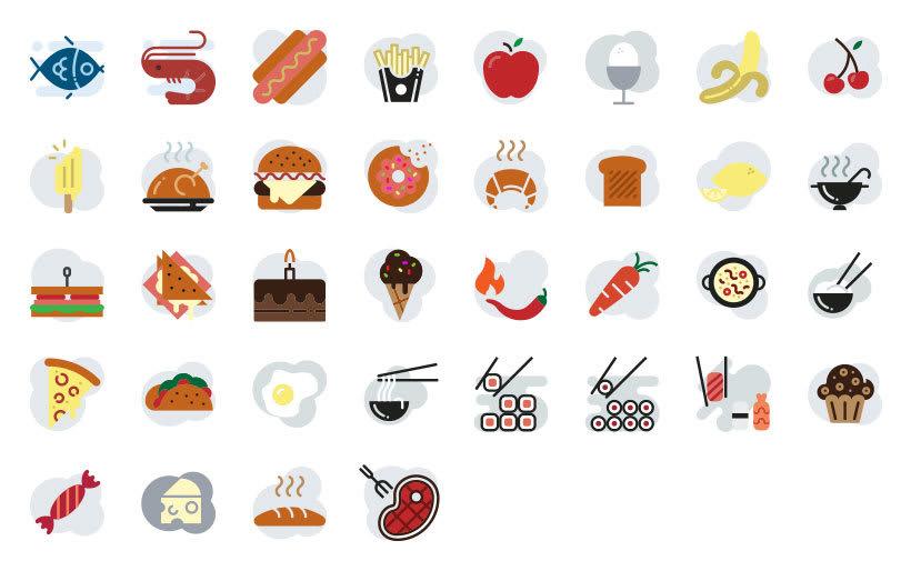 Alimentación - Set de iconos Lipo 2