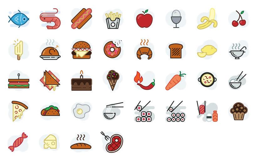 Alimentación - Set de iconos Lipo 3
