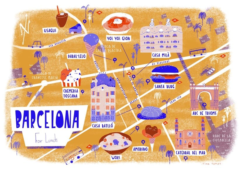 mapa de barcelona Mapa de Barcelona | Domestika mapa de barcelona