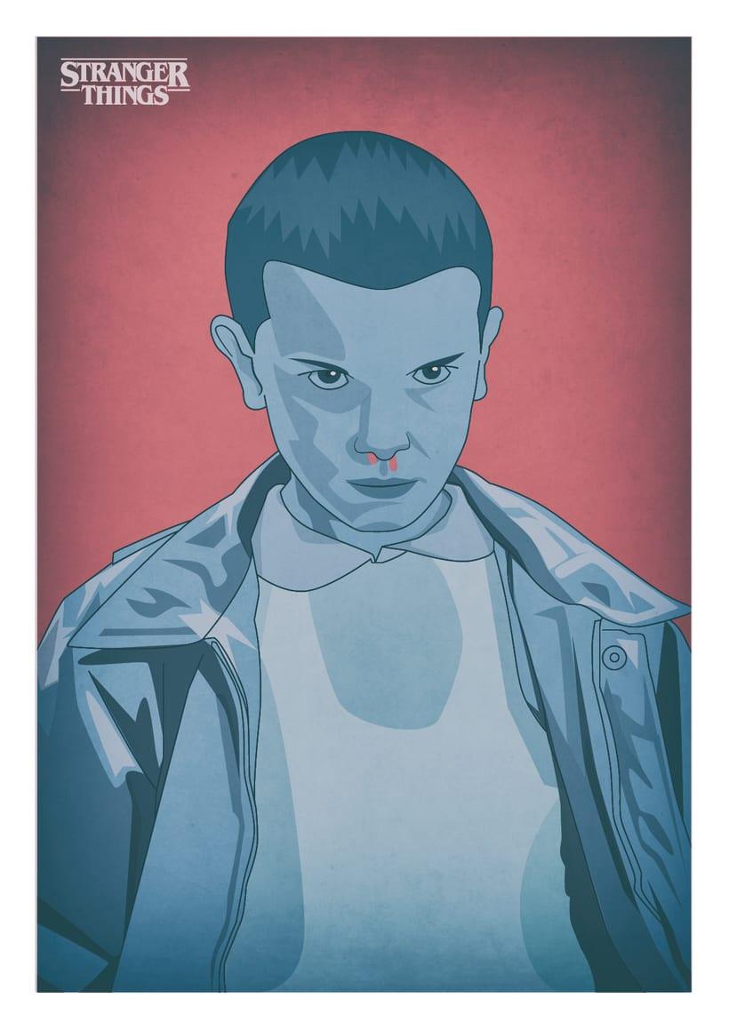 Diseño de póster sobre la serie Stranger Things 0