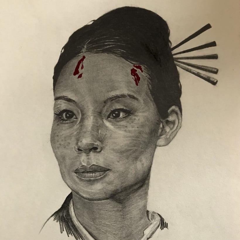 Retrato a lápiz de Lucy Liu  0