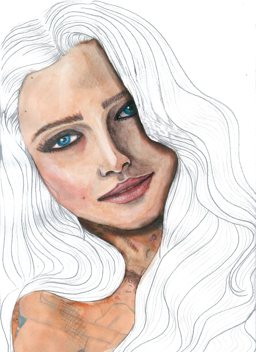 Mi Ensayo del curso: Retrato ilustrado en acuarela -1