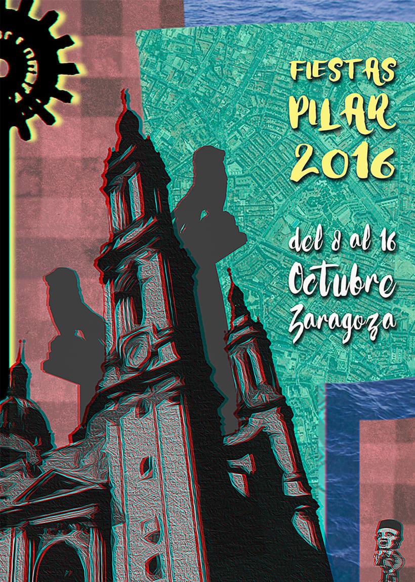 FIESTAS PILAR 2016 ZARAGOZA POSTER (Cartel finalista) 1