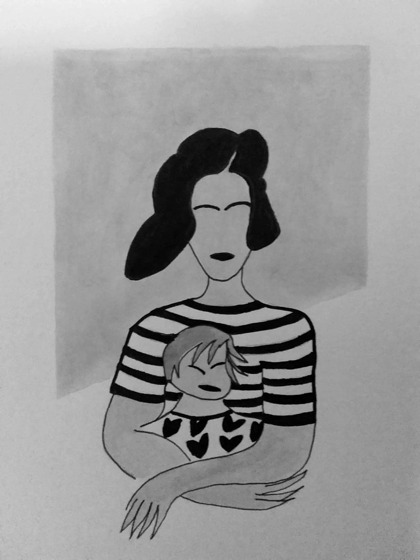 Mi Proyecto del curso: Introducción a la ilustración con tinta china Dona i xiquet 0