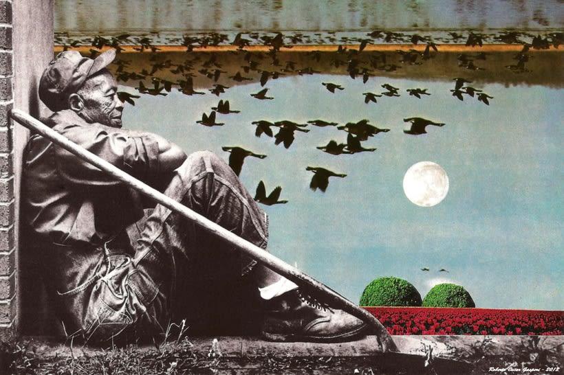 Collages hechos a mano con tijeras, papel y goma de pegar. 14