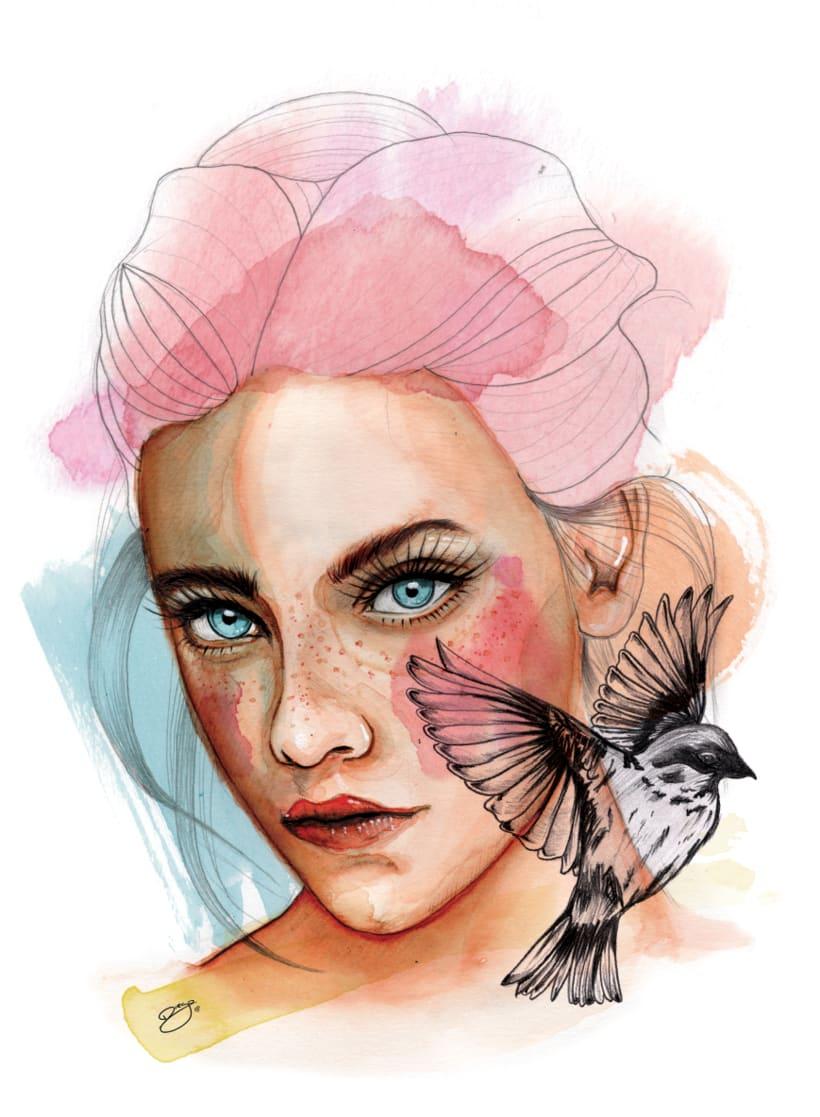 Retrato ilustrado en acuarela por Diego de Caxias 0