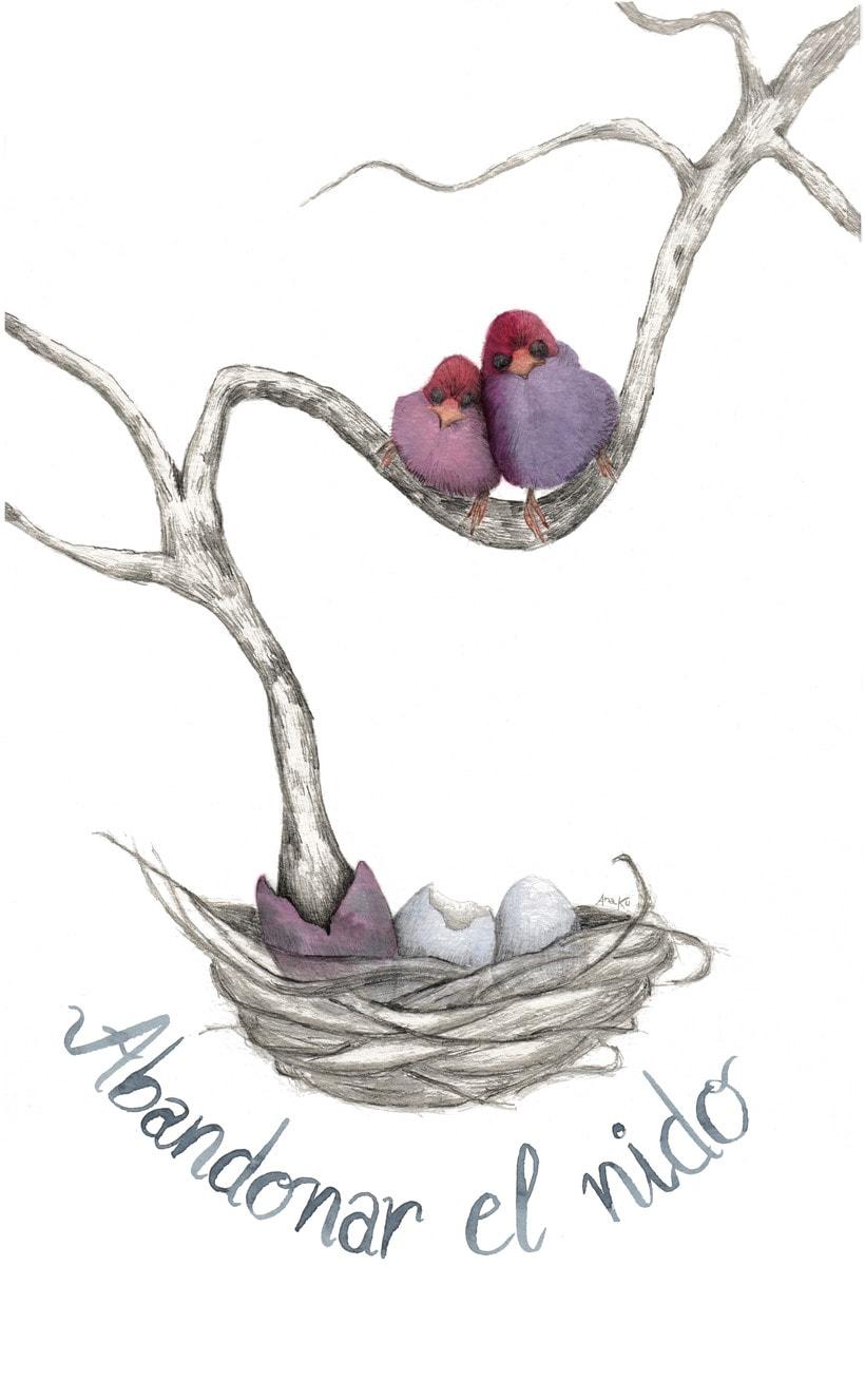 """Técnicas aplicadas de ilustración en acuarela: """"Abandonar el nido"""" 0"""