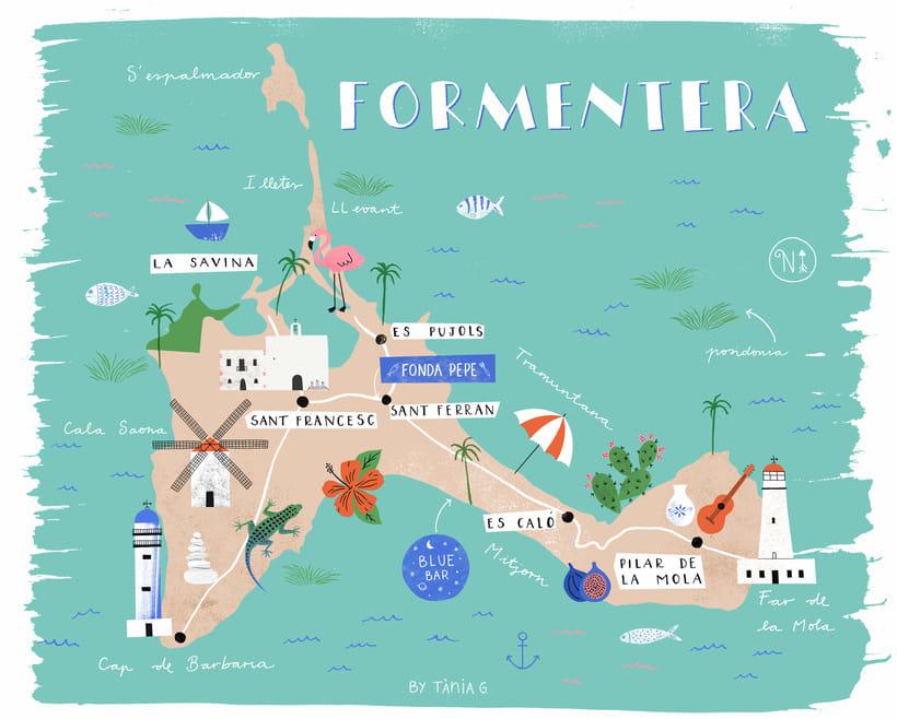 mapa ilustrado Formentera Mapa Ilustrado | Domestika mapa ilustrado