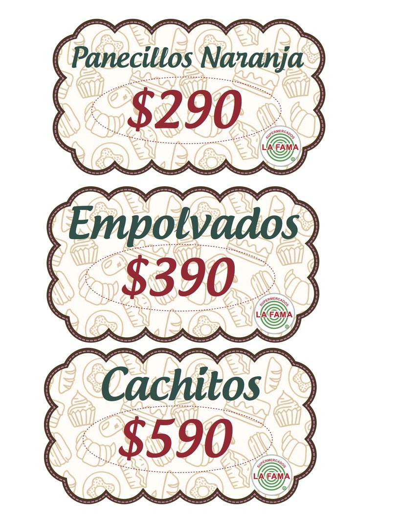 diseño precios pastelería, Supermercado LA FAMA -1