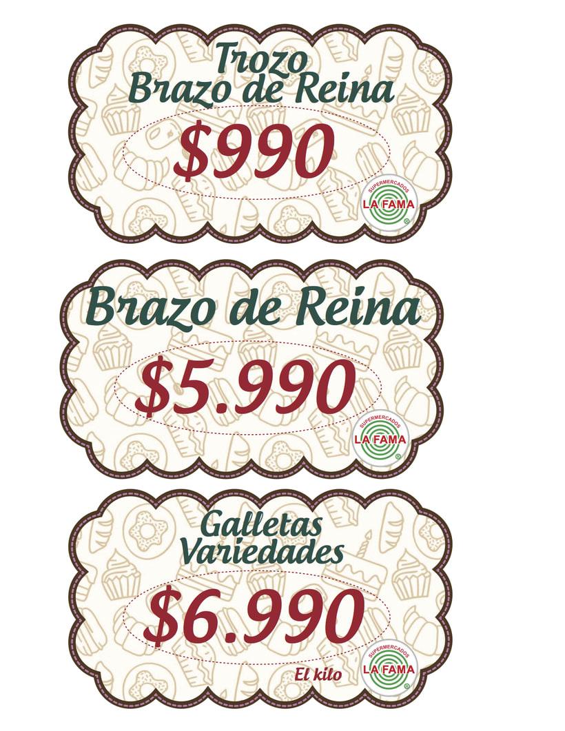 diseño precios pastelería, Supermercado LA FAMA 1