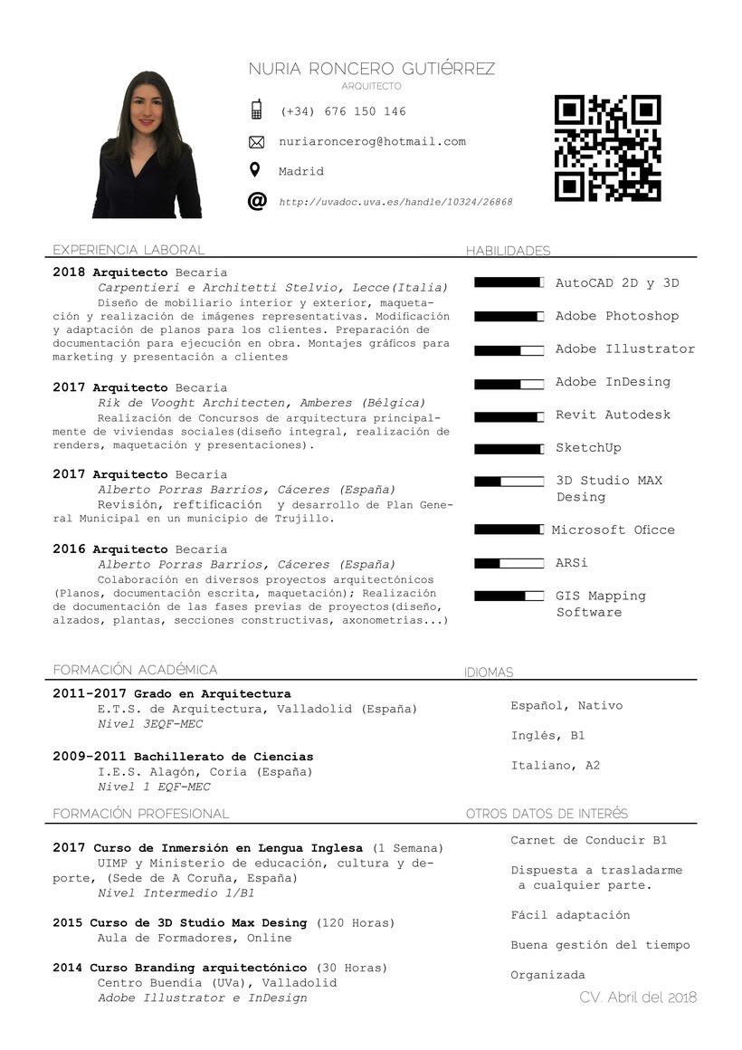 CV Nuria Roncero, Actualizado Abril 2018 0