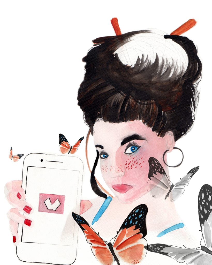 Chica y mariposas, Retrato ilustrado en acuarela 0
