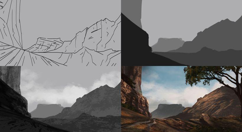Paisaje concept art, proceso  3