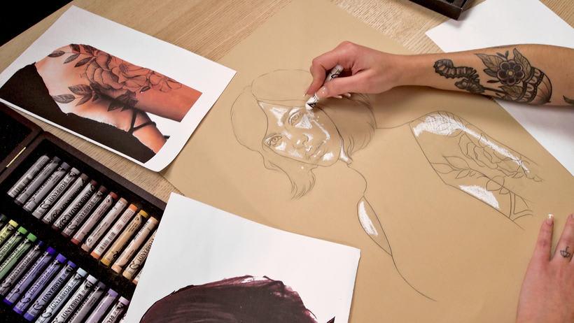 Proyecto del curso ilustración a pastel y lápices de colores 3