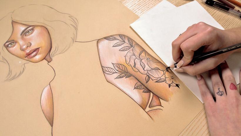 Proyecto del curso ilustración a pastel y lápices de colores 12